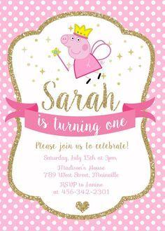 Peppa Pig Princess Birthday Party Invitation Digital Or Printed