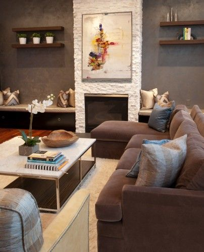 Brown Sofa White Fireplace