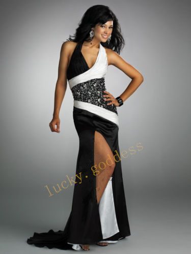 94f7b39412 Sexy Black And White Satin Bridal Gown Dresses Custom Size 6 8 10 12 14 16  18