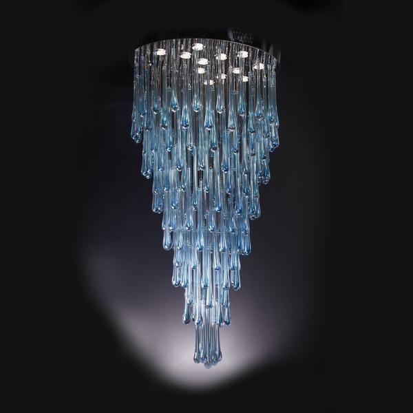 Blue Rainfall Murano Glass Chandelier | Italian Concept