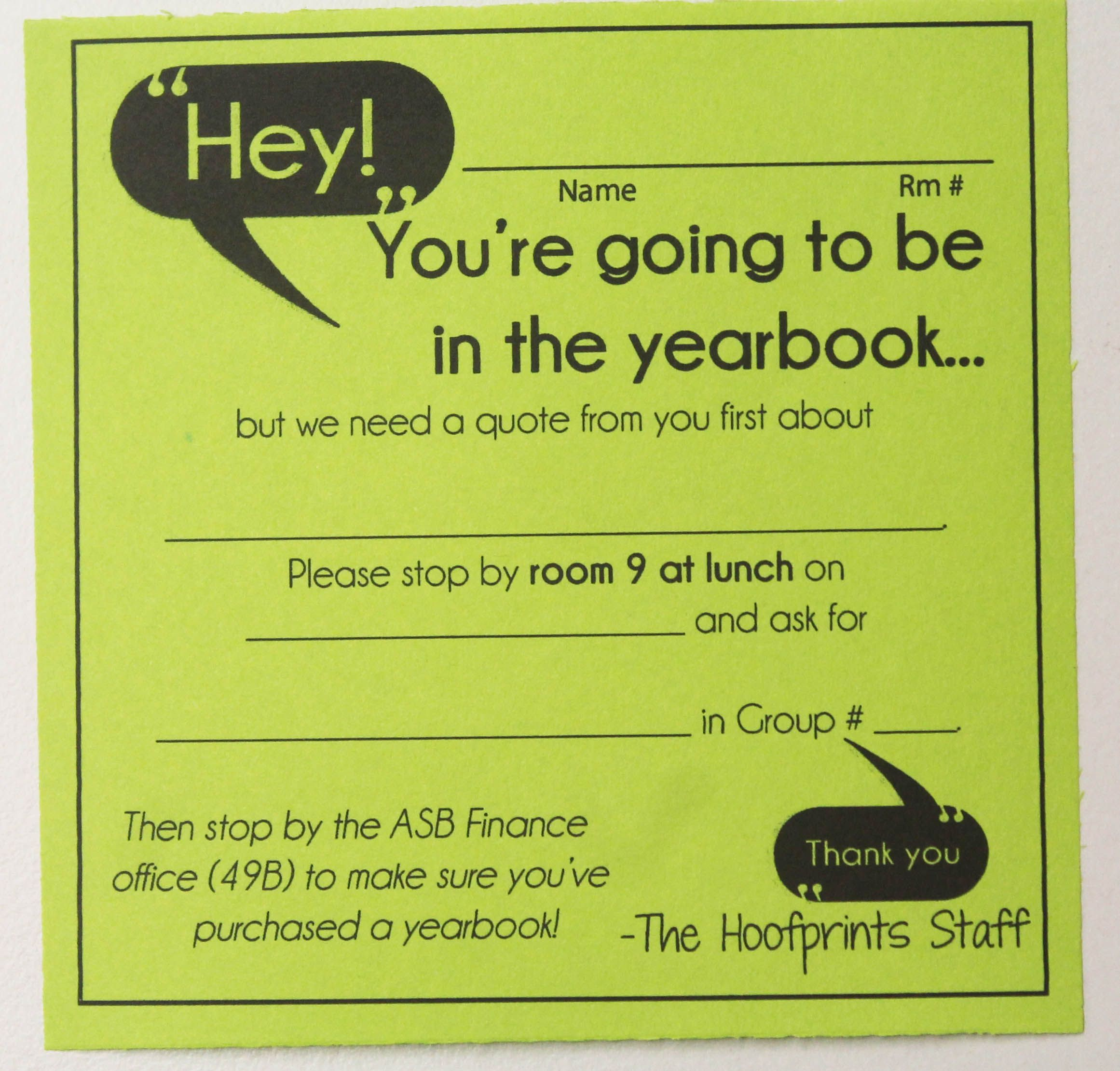 Delivering notes to class to call kids in for quotes yearbook