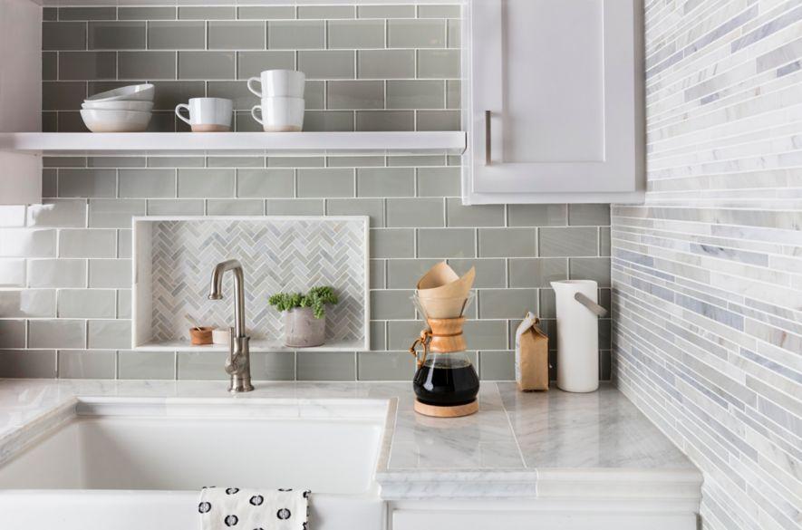 Green Glass Subway Tile Kitchen Backsplash With Herringbone Mosaic Accent Kitchen Tiles Design The Tile Shop Kitchen Backsplash Designs