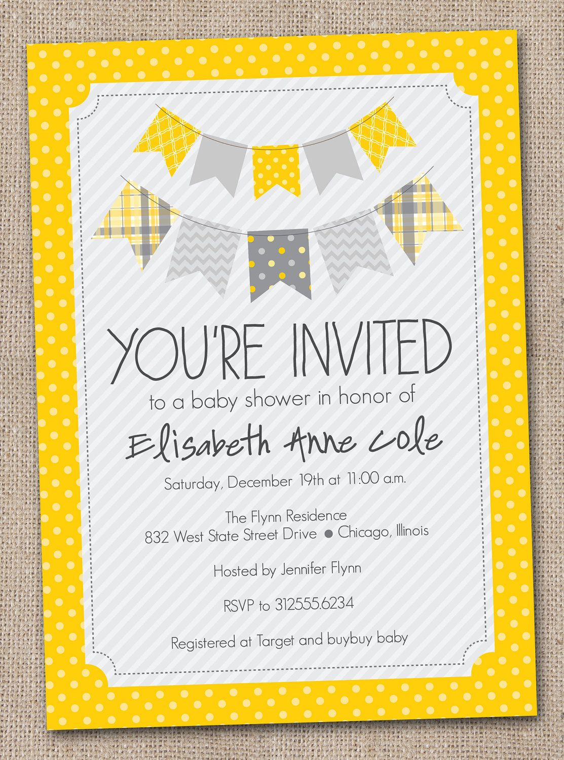 Printable Baby Shower Invitation Yellow and Gray Bunting | Baby ...