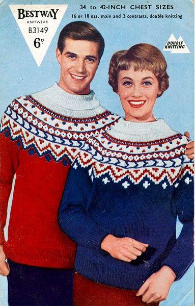 PDF Knitting Pattern 1950's Fair Isle Yoked Sweater - His & Hers ...