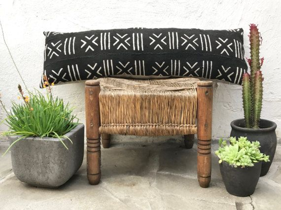 African Mudcloth Bolster Pillow Authentic Mud cloth Long Pillow Throw Pillow Decorative Pillow 10 x 34 by territoryhomegoods
