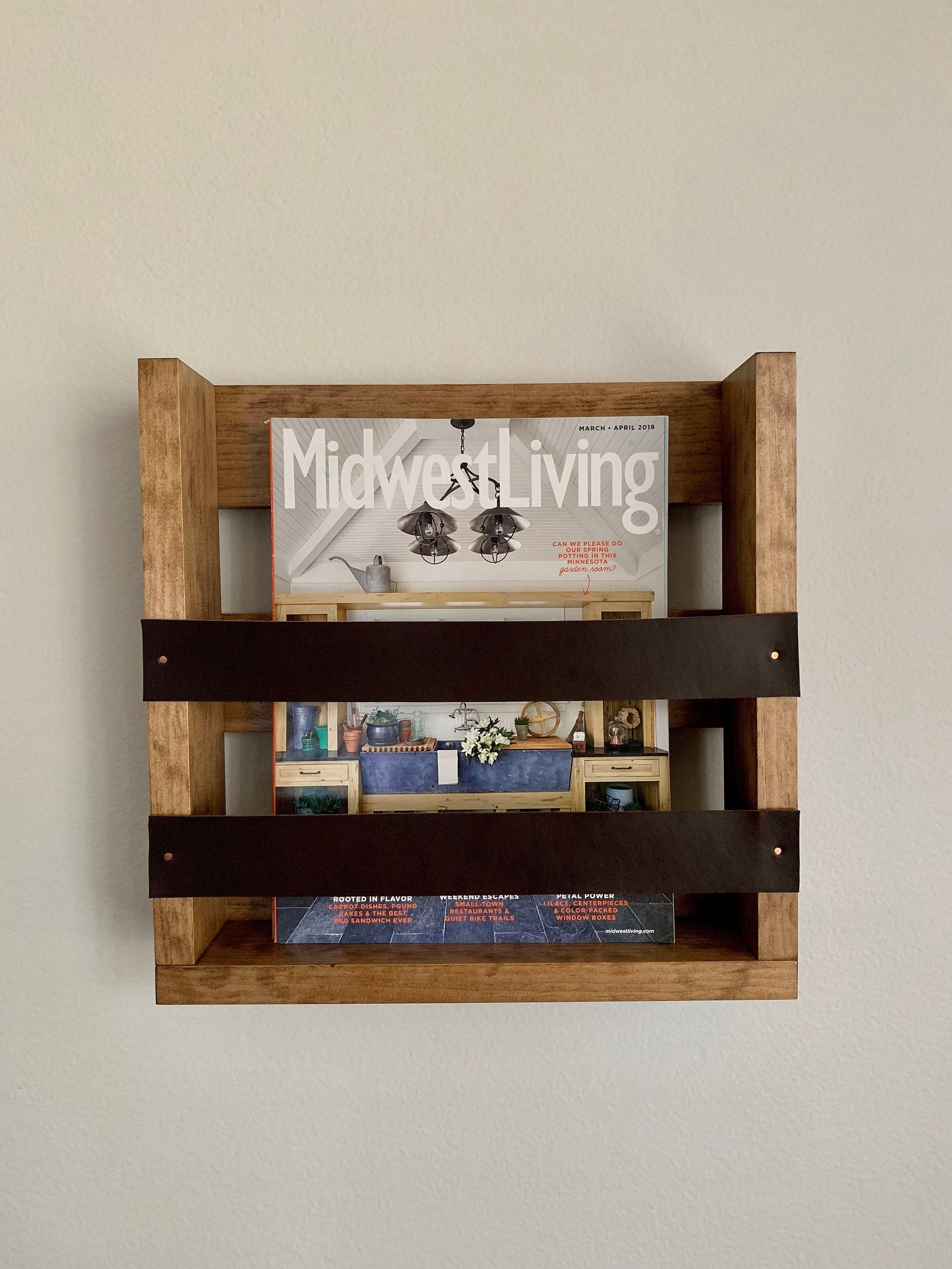 Wall Mounted Magazine Rack With Leather Accents Wall Mounted