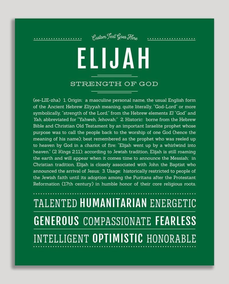 Elijah | Classic Name Print | Classic names, Names with ...