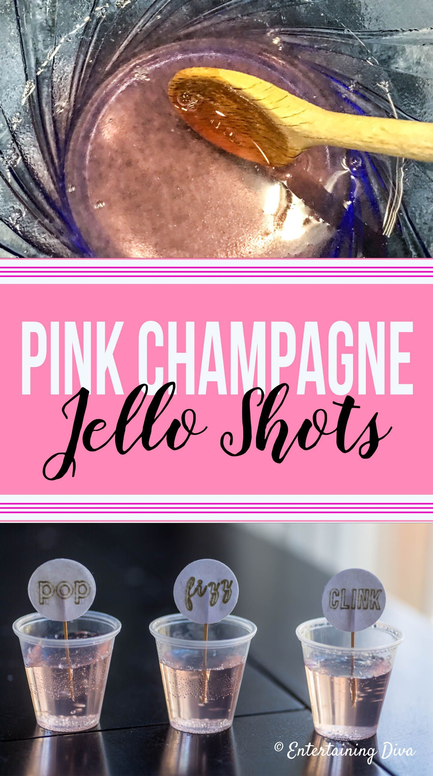 This pink champagne jello shots recipe is to so easy to make. It's made with white cran strawberry juice and sparkling wine and tastes awesome! Perfect for a birthday party, bachelorette party or Galentine's party! #fromhousetohome #newyearseve #champagne #partyideas #jelloshots #holidaysandevents #bachelorettepartyideas