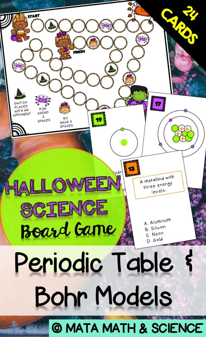 Periodic table and bohr model board game halloween edition your students will receive lots of practice identifying bohr models and studying the periodic table by playing this board game in this special halloween urtaz Gallery