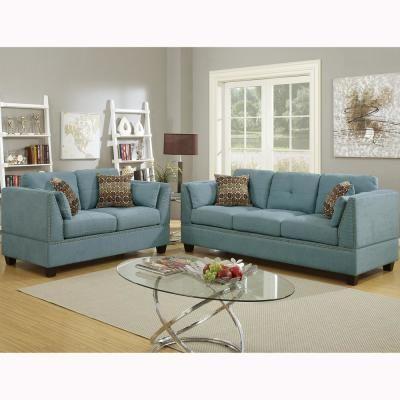 Best Venetian Worldwide Abruzzo 2 Piece Hydra Blue Velvet Sofa 400 x 300