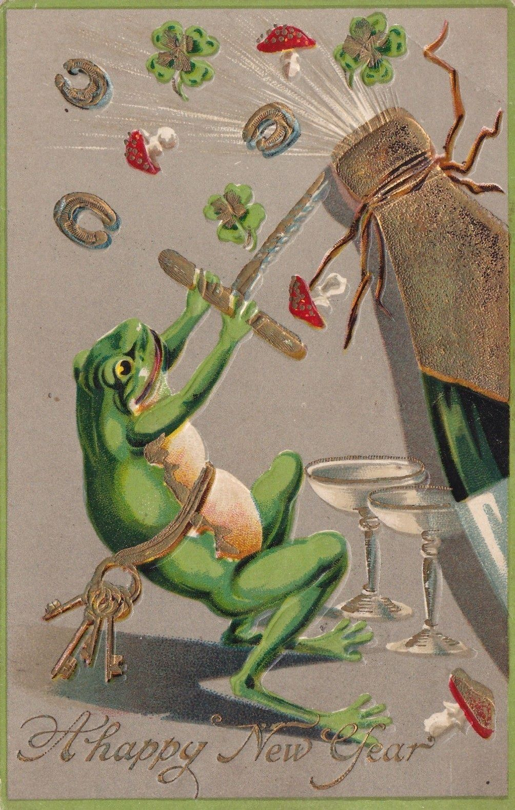 Happy New Year postcard frog Vintage happy new year, Old