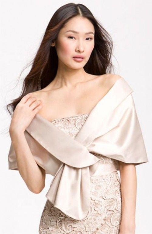 The Bridesmaids Shoulder Wrap In Fawn By Adrianna Papell Http Www Weddingomania Com 35 Beautiful Cover Ups Shawls And Capes For Au Satin Wrap Fashion Women