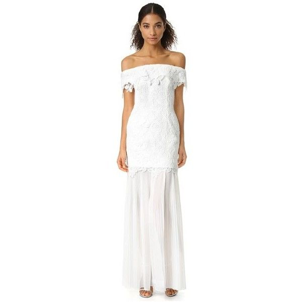 Self Portrait Off Shoulder Lace Gown (£915) ❤ liked on Polyvore featuring dresses, gowns, white, off-the-shoulder lace dresses, white evening dresses, off shoulder dress, white off the shoulder dress and white lace evening gown
