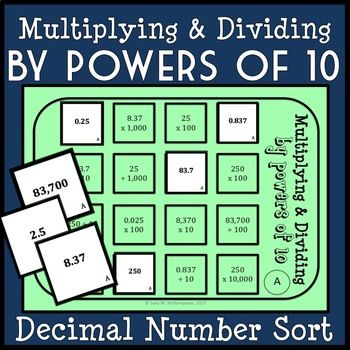 Multiplying Dividing Decimals By Powers Of 10 Sorting Game 5nbt