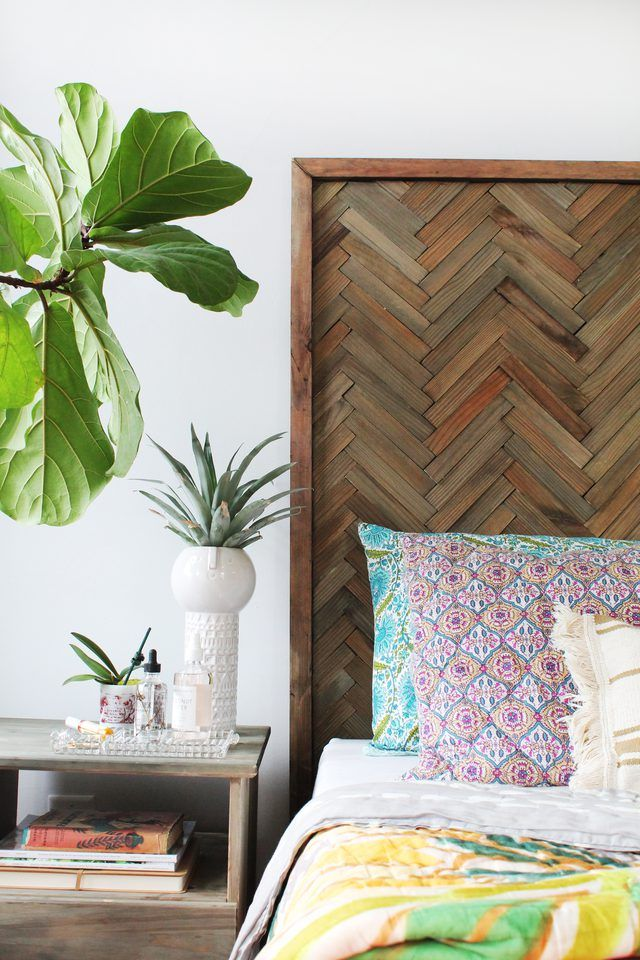 Diy Herringbone Headboard With Wood Shims Home Decor