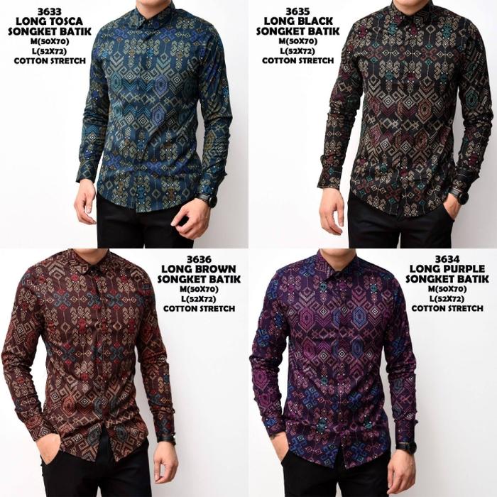 Kemeja Batik Songket Modern Pria Dewasa Lengan Panjang terbaru ... 78f57e4aab