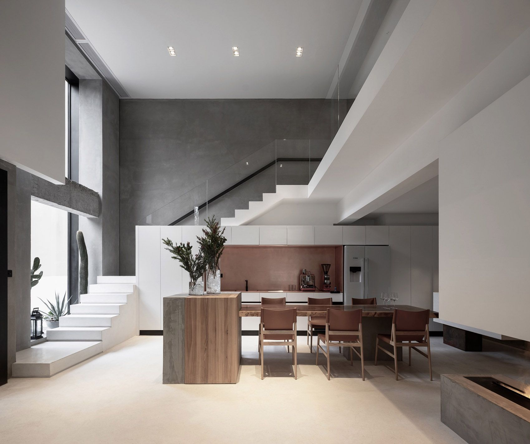 Habitat By H2design A Simple And Pure Guest House Maintaining A Distance From The Urban Architecture Interior Stairs Home House
