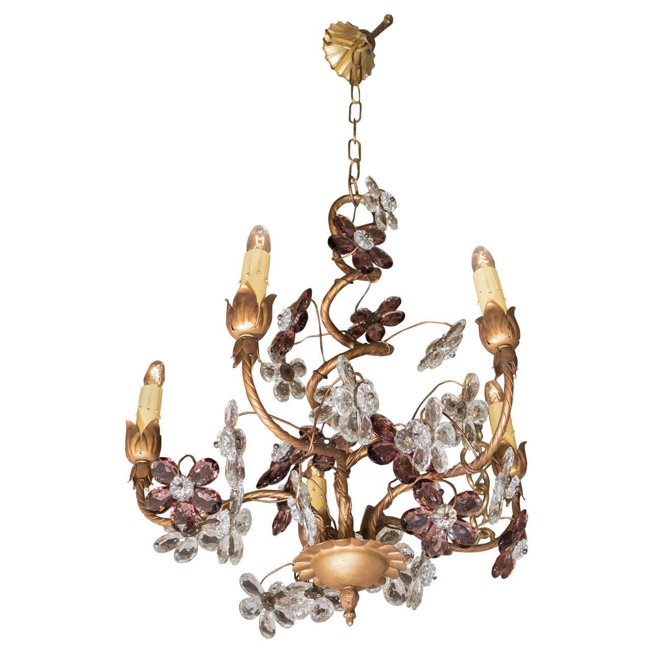 Italian 1950s Crystal Flower Gilt Chandelier From A Unique Collection Of Antique And Modern Chandeliers Pendants At