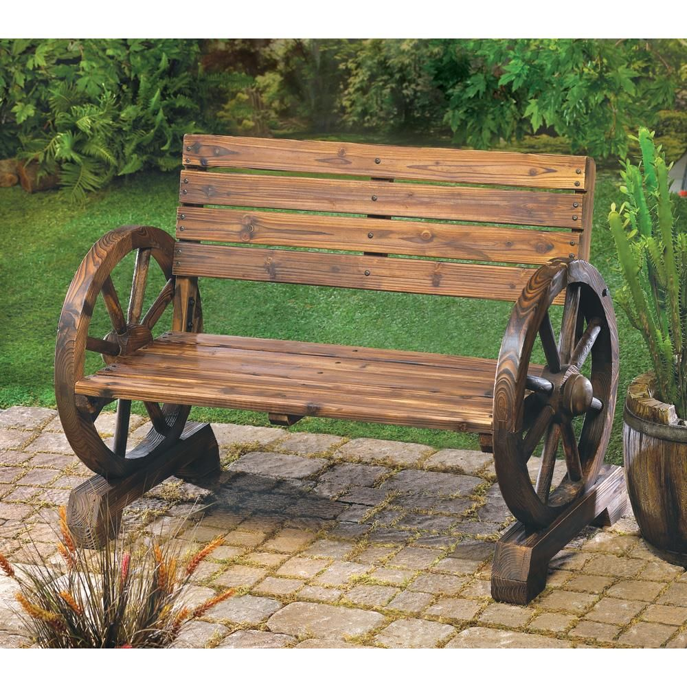 Rustic outdoor wood bench - Wagon Wheel Bench Rustic Benchrustic Woodrustic