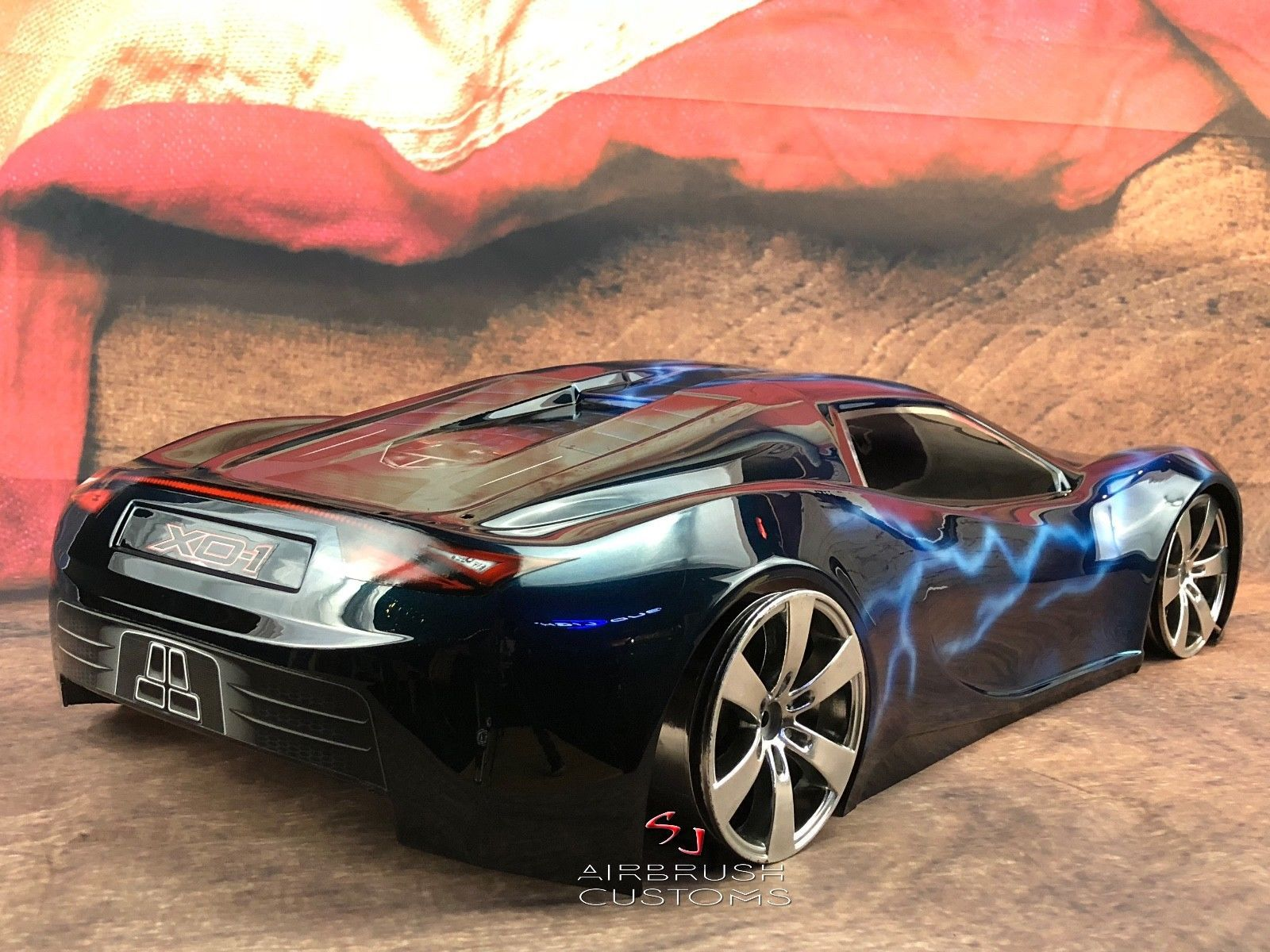 CUSTOM PAINTED TRAXXAS XO 1 BODY CANDY BLUE LIGHTNING 3D SKULL 100 AIRBRUSH