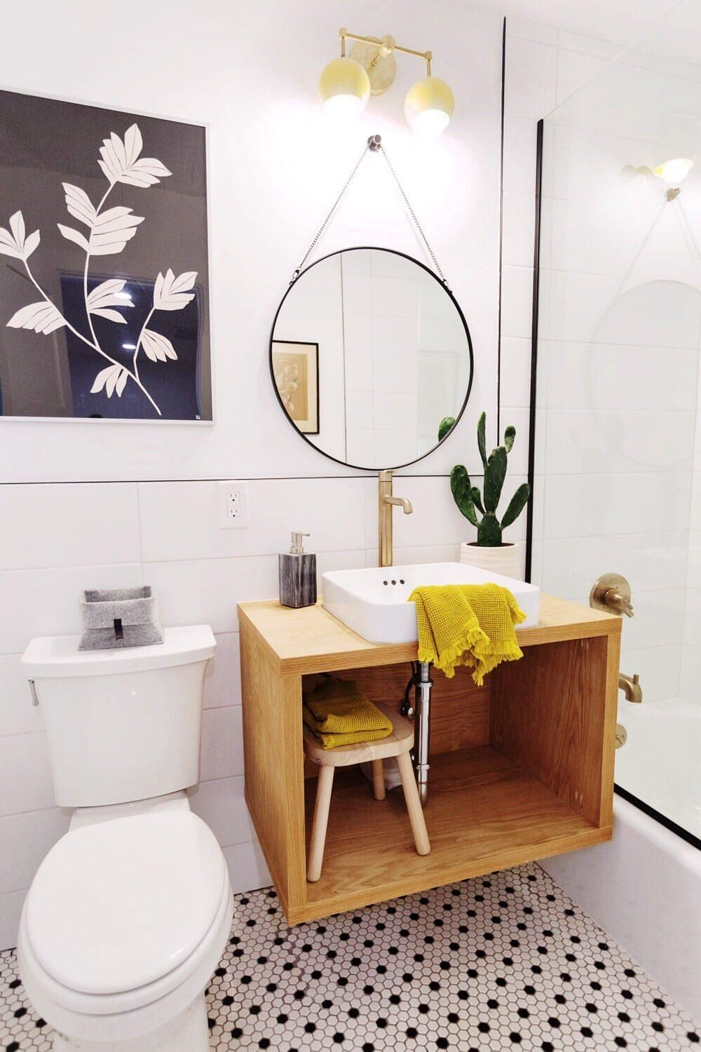 Bathroom Renovation In Black White And Yellow With Midcentury