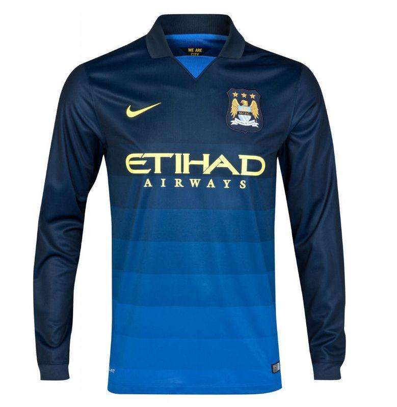 Produto  Camisa Manchester City (Inglaterra) - Uniforme 2 Manga Longa - 2014  2015 a22b49710e790