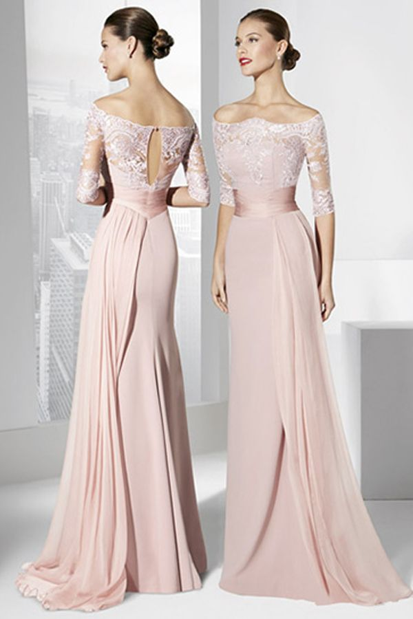 [114.79] Fantastic Silk-like Chiffon Off-the-shoulder Neckline Cut-out Sheath Evening Dresses With Lace Appliques