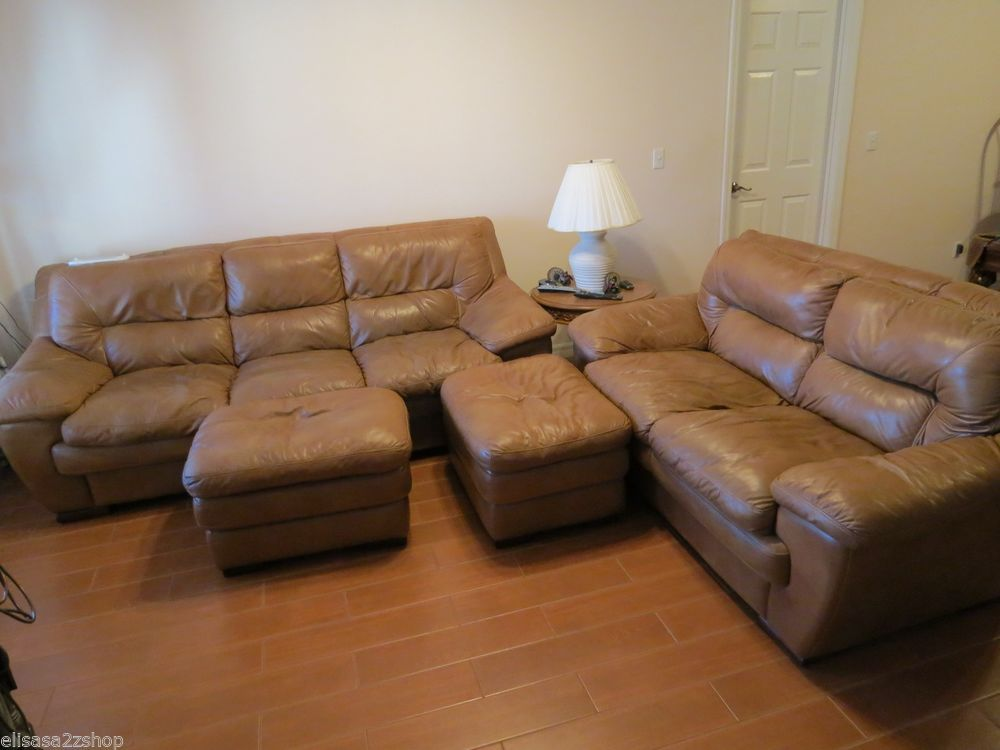 Superb Creations Soft Leather Couch Loveseat Brown Set Living Room 2  Ottomans