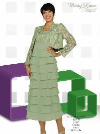 Sage green, tiered dress