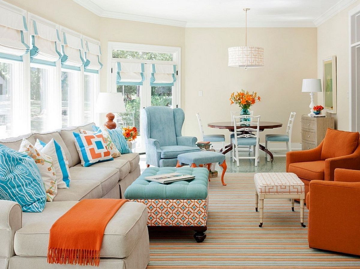 Adorable burnt orange and teal living room ideas 9  Living room