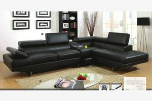 Modern Black Leather Sectional Sofa Couch Console Bluetooth Speaker