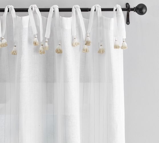 Striped Linen Tie Top Tassel Sheer Curtain - White