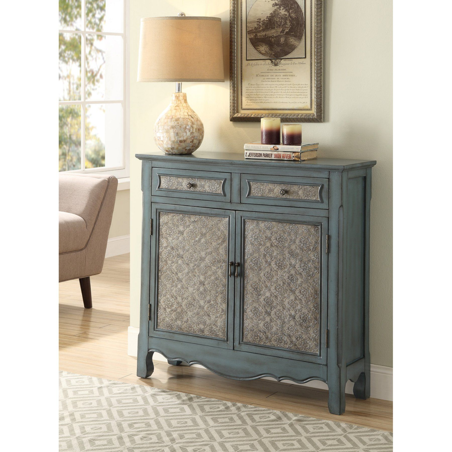 Acme Furniture Winchell Antique Blue Console Table 97245