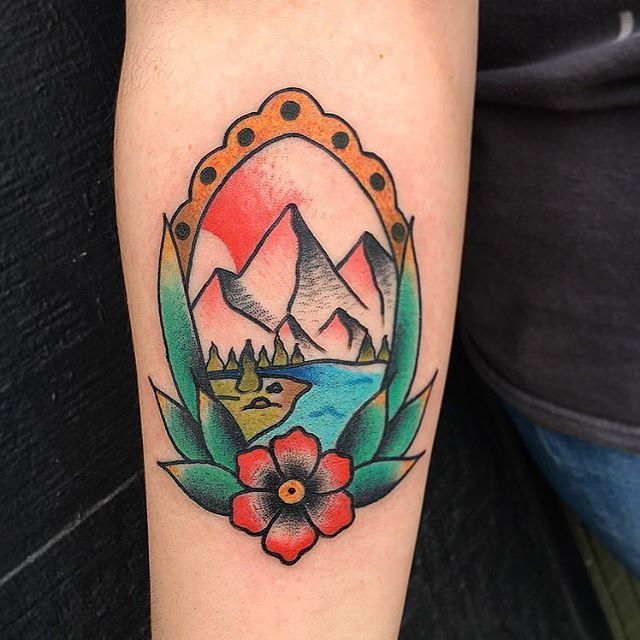Tattoo By Phil Piercedhearts Mountains Sceinic Mountaintattoo Pretty Color Colortattoo Framed Flowers Bright Framed Tattoo Traditional Tattoo Tattoos