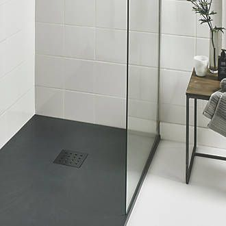 The Shower Tray Company Rectangular Shower Tray Grey SlateEffect - Ceramic tray for bathroom for bathroom decor ideas