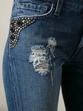 Calça Jeans Skinny Bordada Com Pedrarias