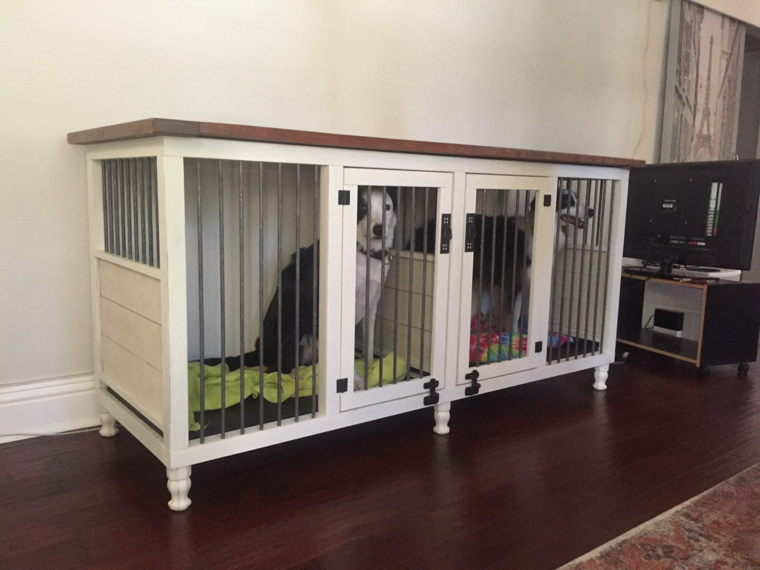 homemade dog kennels 2. Dog Kennel, 2 Dogs, Condo, House, Box, Bed, Solid Hardwood, Metal, Handmade, Custom Sizes Available By ArtsyReclaimed On Etsy Homemade Kennels O