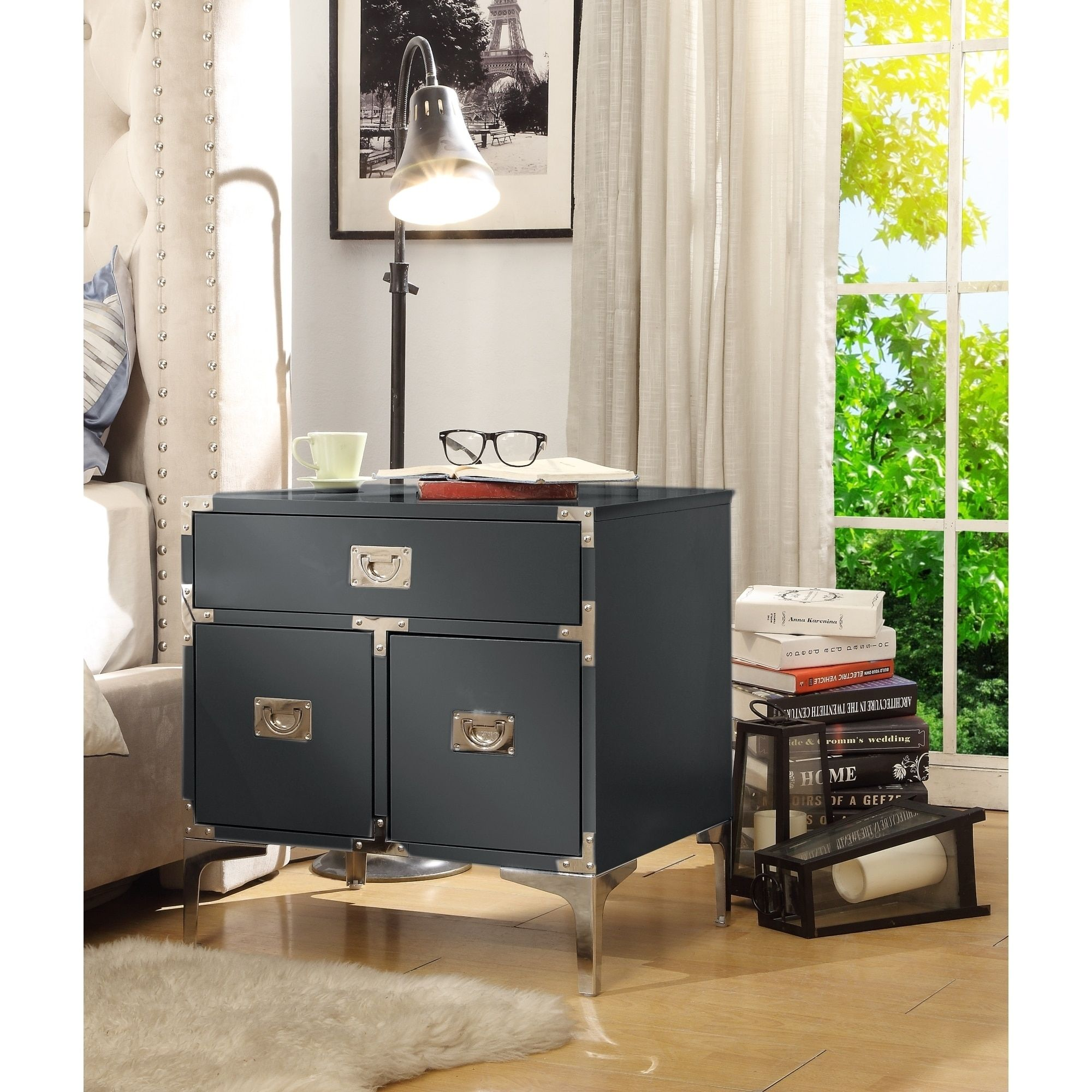 Accent Table Nightstand 3 Drawers