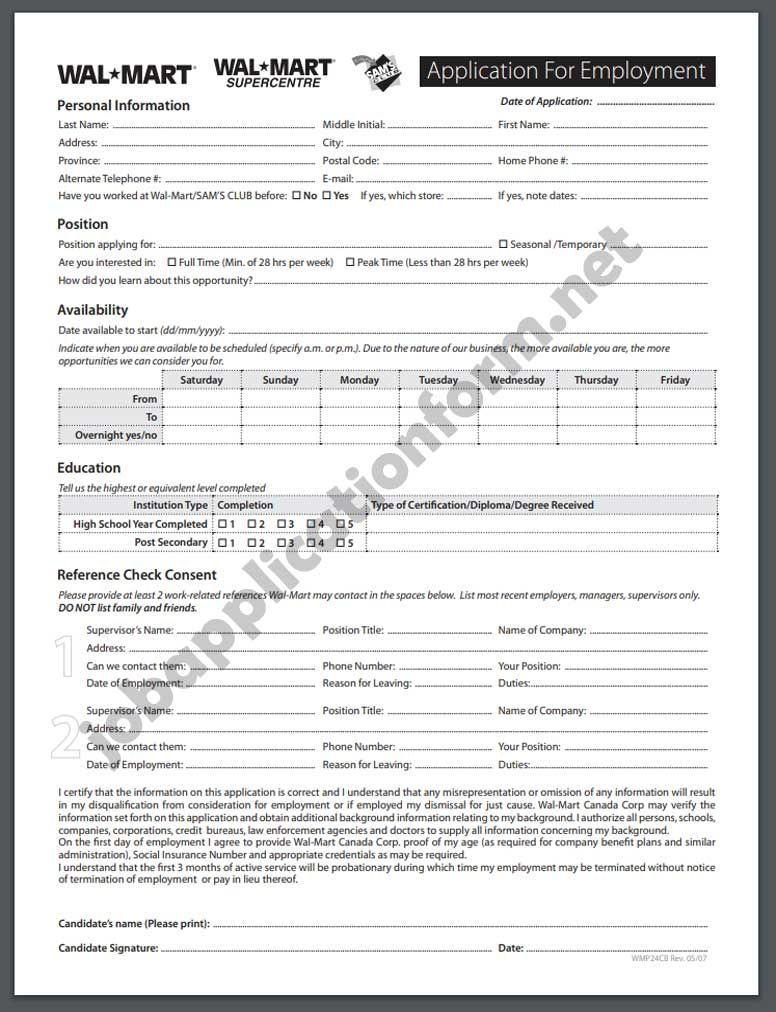 Walmart Application Online Pdf 2020