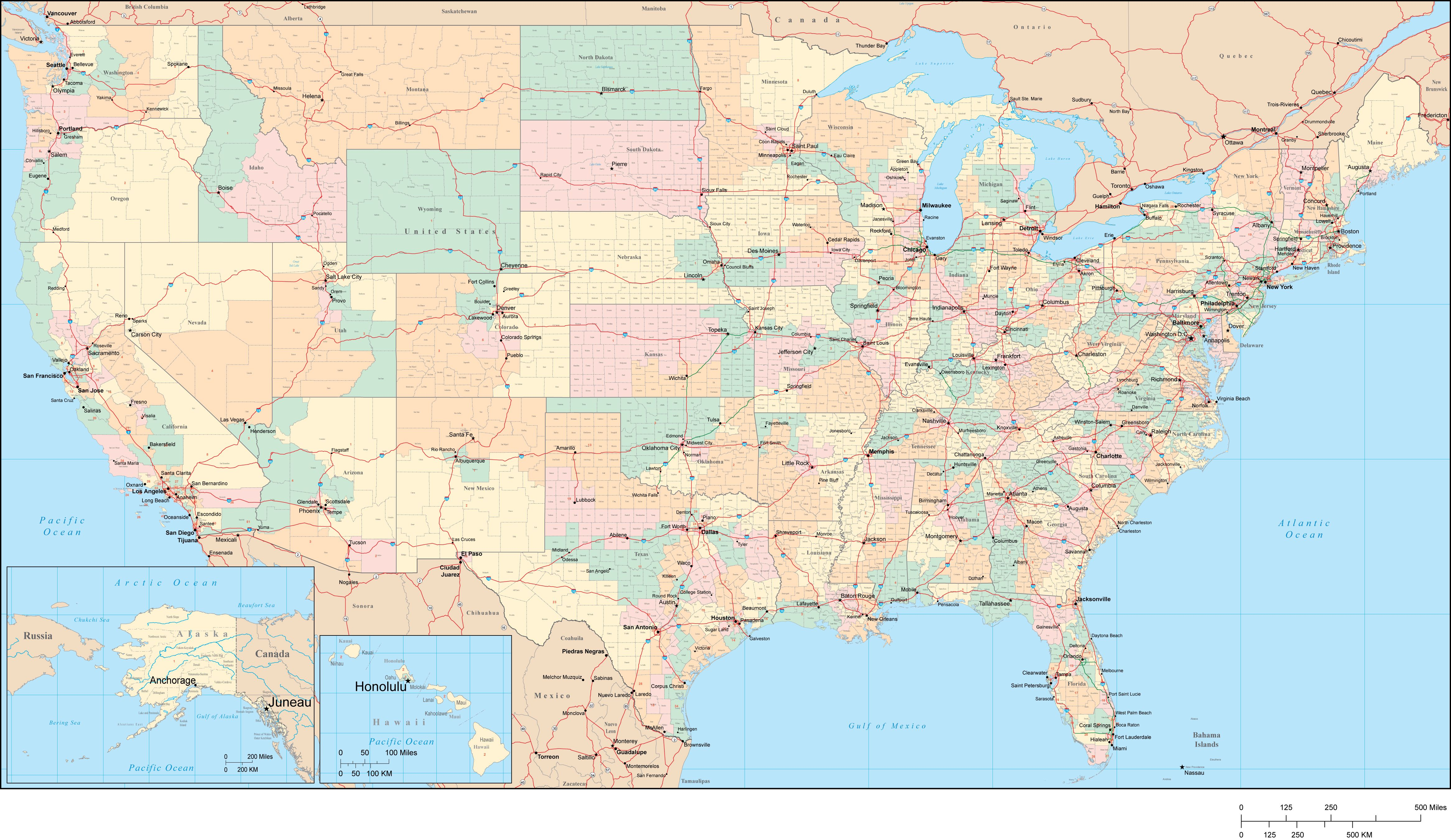 Poster Size USA Map with Congressional Districts plus Counties