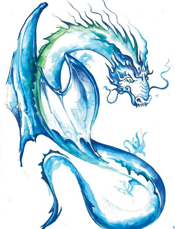 Sea Dragon Of Fortune Print Of A Watercolor Painting Body Art