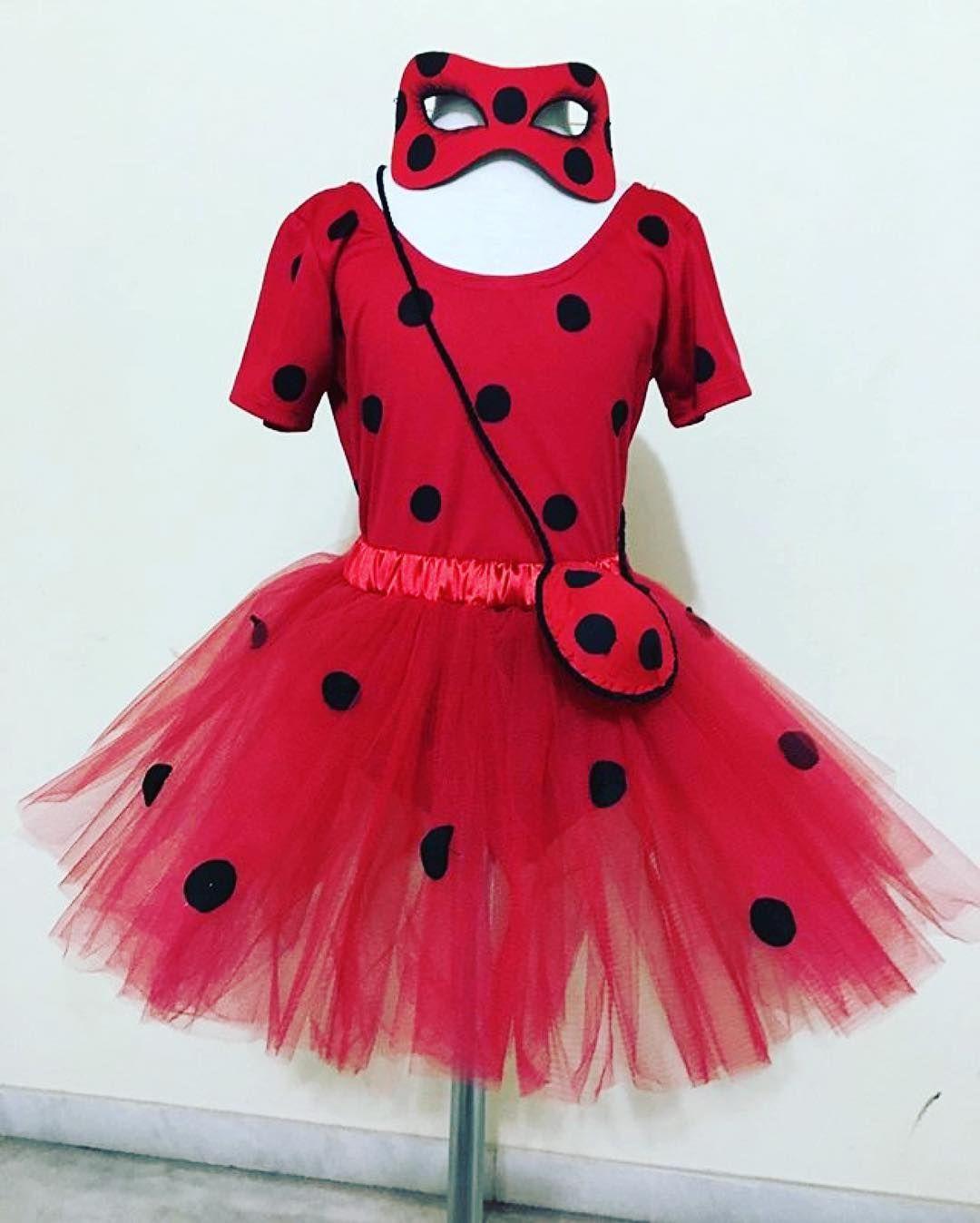 Vestido de festa Joaninha Ladybug luva e mascara de EVA