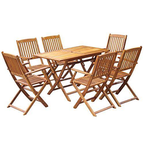 Festnight 7 pcs Salon de Jardin en Bois d\'acacia Massif 1 Table ...