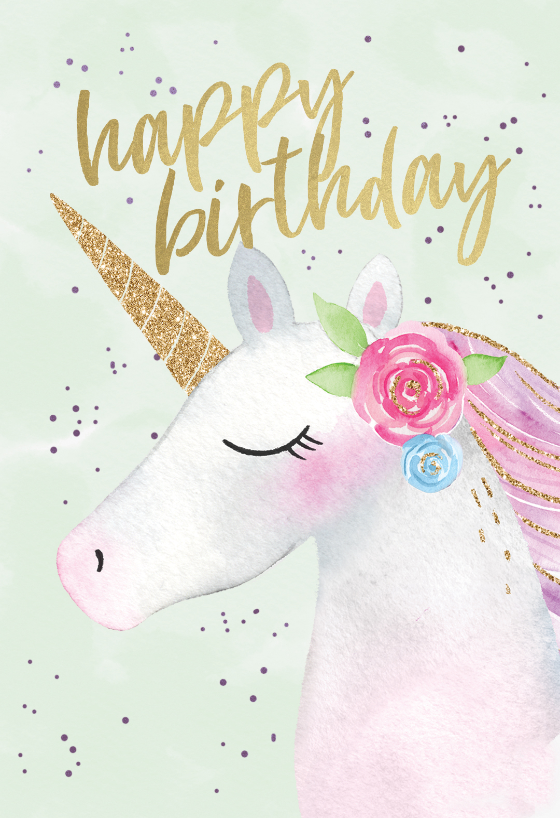 Happy Unicorn  Birthday Card (free is part of Unicorn birthday cards, Birthday card template, Happy birthday cards, Printable unicorn birthday, Happy unicorn, Cute birthday wishes - 'Happy Unicorn'  Birthday card template you can print or send online as eCard for free  Personalize with your own message, photos and stickers