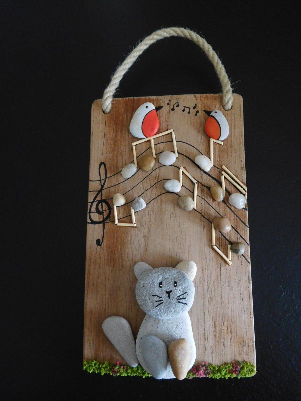 """Faire Un Tableau Avec Des Galets tableau de galets décoratif """" chat et musique """"/bois flotté"""