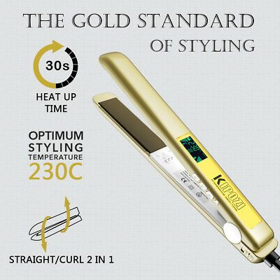 Details about KIPOZI Flat Iron Pro Hair Straighteners With 1 Inch Nano-Titanium Plates Golden #flatironwaves