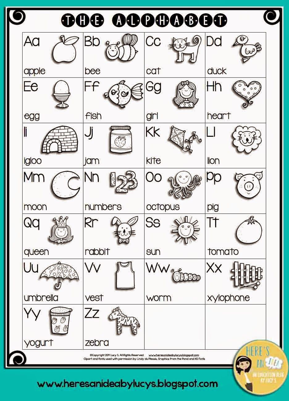Worksheet Alphabet Charts For Kindergarten kindergarten writing tips for the beginning of year charts free bw english alphabet chart have kids color pictures and keep this for