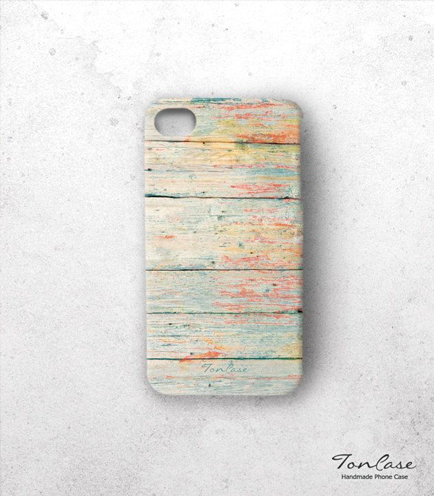 wood iphone 4 case - FREE SHIPPING, iPhone 4s case, handmade phone case, gift, multicolor, yellow, mint - unique colorful painted wood (c55). $29.90, via Etsy.