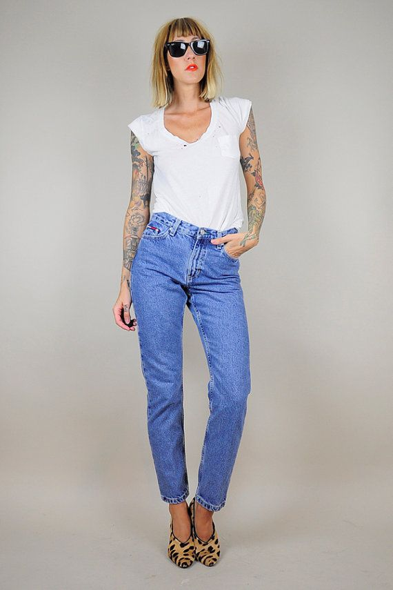 a55e7f7395830 90 s TOMMY HILFIGER High waist SKINNY jeans Grunge Straight Leg ...