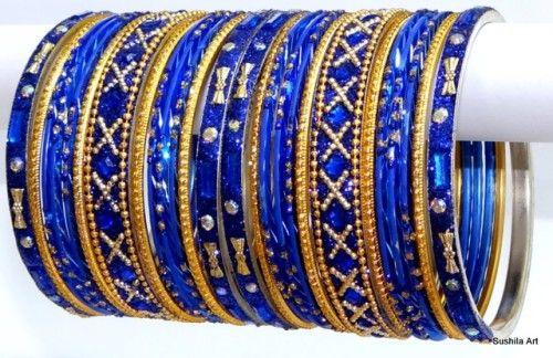 Belle Couleur Bleu Belly ethnique Indian Dance métal Bangles Bracelet Set